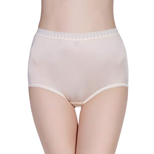 Forever Angel Women's 100% Silk Knitted High Rise Panties Ivory Size L