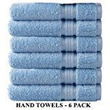 Cotton Craft Ultra Soft 6 Pack Hand Towels 16x28 Light Blue Weighs 6 Ounces Each - 100% Pure Ringspun Cotton - Luxurious Rayon Trim - Ideal for Everyday use - ()