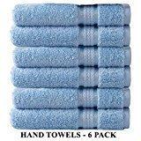Cotton Craft Ultra Soft 6 Pack Hand Towels 16x28 Light Blue