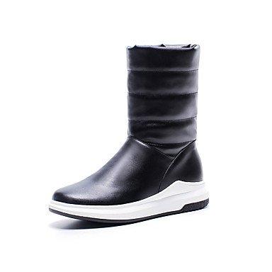 CN38 UK5 5 Moda Para Botas La Polipiel EU38 Blanco US7 Otoño Plataforma Botas Mujer Botas Invierno Casual De 5 Negro Botas Zapatos RTRY Calf Nieve Rojo Redonda Puntera Mid IqwpTFnf