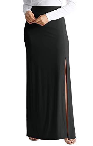 (Black Maxi Skirt for Women Black Casual Skirts Long Black Skirt reg and Plus Size Black Ankle Length Skirt (Size XXX-Large US 12-14, Black))