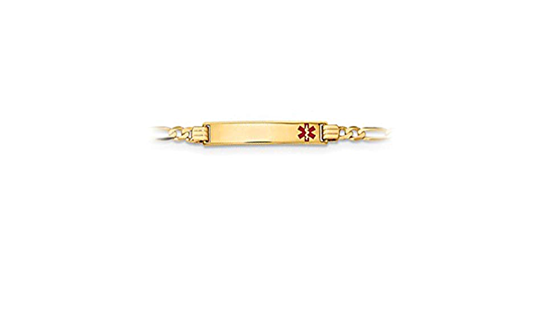 Brilliant Bijou 14k Yellow Gold Medical Polished Red Enamel ID with Semi-Solid Figaro Bracelet 7 inches