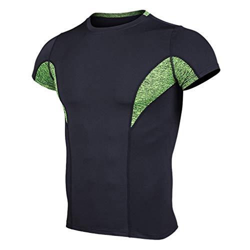 - JJLIKER Mens Cool Dry Compression Baselayer Short Sleeve T Shirts Sports Tights Shirt Running Yoga Workout Undershirts Green