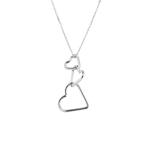 (RareLove Fashion Interlocking Three Hearts Pendant Necklace for Women Girls Alloy Silver)