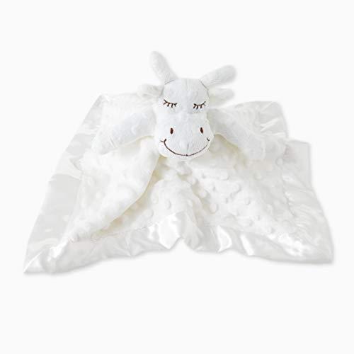 TD Baby Blanket Plush Cow Security Blanket Lovey Stuffed Animal Blankie Plush Dots Satin Trim-Cream ()
