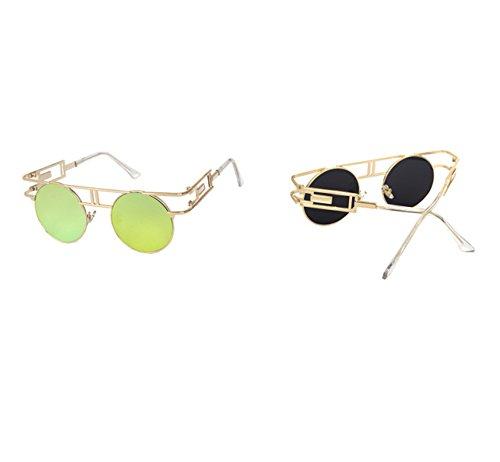 Gafas del gótico Oro de clásico la redondo reflexivo Oro colorido redondas UV400 sol de vendimia marco tqArtv
