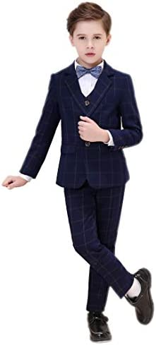 男の子のスーツボーイズスーツ5ピーススリムフィットドレスウェアスーツセットのスーツ,Blue 格子