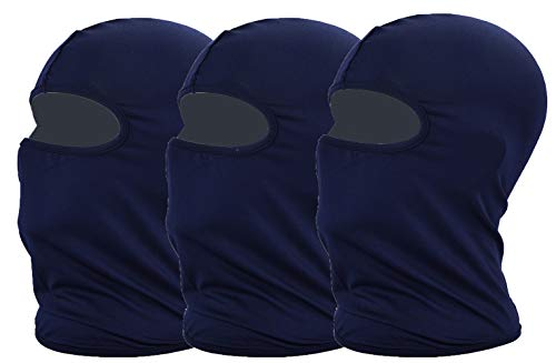MAYOUTH Balaclava UV Protection Face Masks for Cycling Outdoor Sports Full Face Mask Breathable 3pack (Navy Blue 3-Pack)
