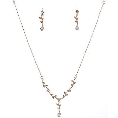 Topwholesalejewel Fashion Jewelry Set Rose Gold Plating Flower Necklace Earrings Set