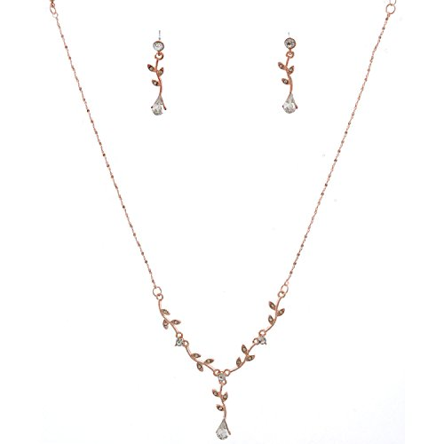 Topwholesalejewel Fashion Jewelry Set Rose Gold Plating Flower Necklace Earrings Set