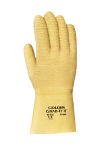 Cotton Ansell Gloves (Ansell Golden Grab-It Rubber Coated Gloves - Size 10 With Crinkle Finish And Knit Wrist - 1 Pair - 216585)