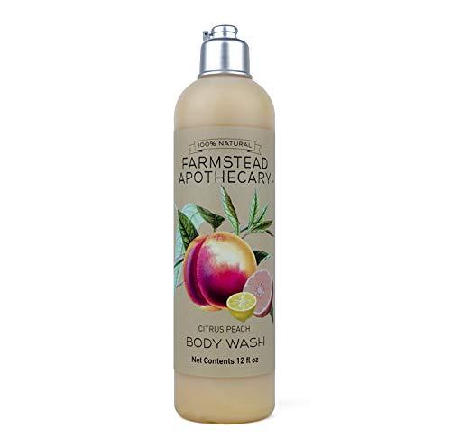 Farmstead Apothecary 100% Natural Body Wash with Organic Coconut Oil, Organic Sunflower Oil & Organic Vitamin E Oil, Citrus Peach 12 oz