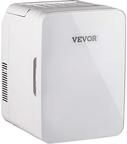 VEVOR Mini Fridge, 10 Liter Portable Cooler Warmer, Skincare Fridge White, Compact Refrigerator, Lightweight Beauty Fridge, for Bedroom Office Car Boat Dorm Skincare (110V/12V)