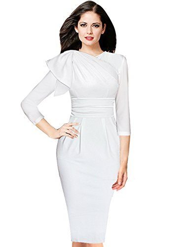 (VFSHOW Womens Celebrity Elegant Ruffle Ruched Cocktail Party Bodycon Dress 1209 WHT)