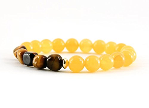 JP_Beads Yellow Calcite Bracelet, Tiger's Eye Bracelet, Solar Plexus Bracelet, Chakra Bracelet, Gemstone Bracelet, Handmade Jewelry, Gemstone Jewelry 8mm