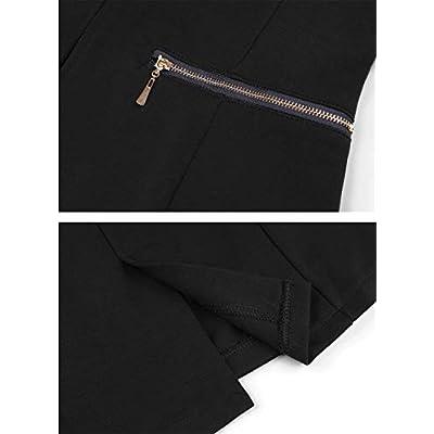 Genhoo Women's Long Sleeve Blazer Open Front Cardigan Jacket Work Office Blazer with Zipper Pockets at Women's Clothing store