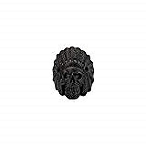 Inox Jewelry Stainless Steel Chief Indian Skull Head Matte Ring (Black, Size 10) from INOX