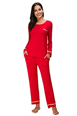 M-anxiu Sleepwear Womens Long Sleeve Cotton Pajama Set Soild Loungewear S-XXL
