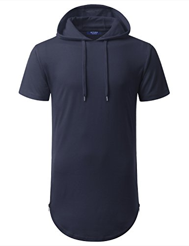 Aiyino Mens Hipster Hip Hop Longline Pullover Short Sleeve Hoodie Shirts (US 2XL, Navy) by Aiyino