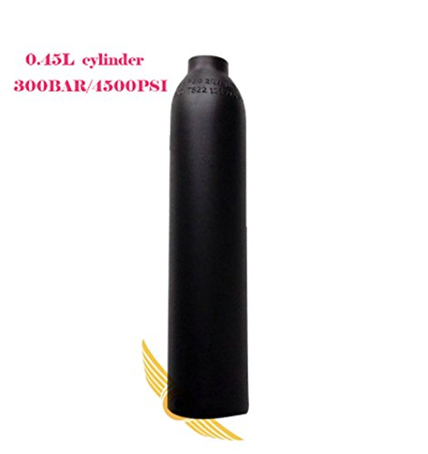0.45 L Air Tank 4500PSI PCP Paintball Tank Aluminious Alloy HPA Cylinder Black M181.5 Thread by Loader
