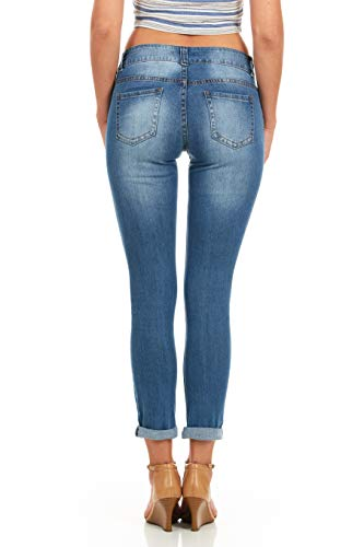 Cover Girl Skinny Ripped Jeans for Women Distressed Blue, Electric, 15 by Cover Girl (Image #3)'