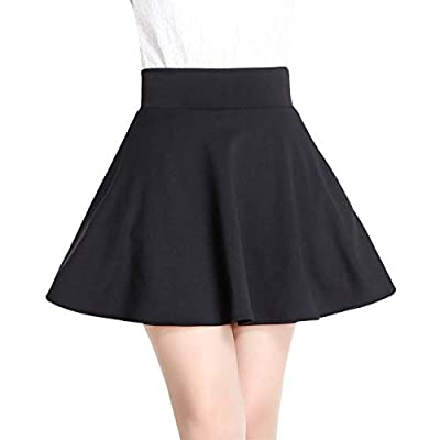 Wincolor Women's Elastic High Waisted Stretched A-line Flared Pleated Mini Skater Skirt with Boyleg-Short