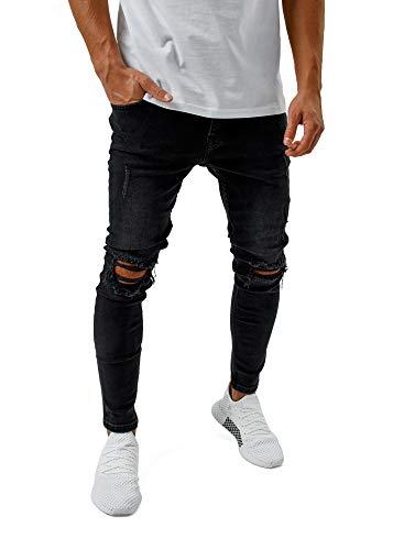 Burocs Herren Destroyed Jeans Skinny Fit Stretch Dunkelblau Blau Schwarz BR1512
