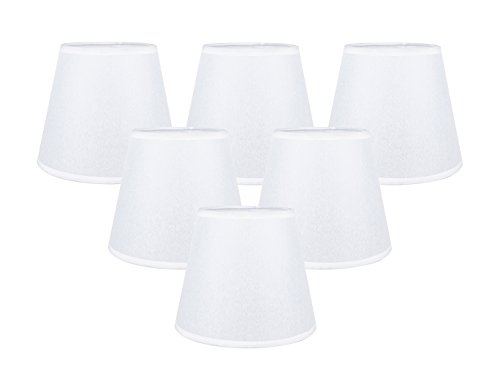Torpedo Mini Pendant Lamp - Meriville Set of 6 Off White Paper Clip On Chandelier Lamp Shades, 4-inch by 6-inch by 5-inch