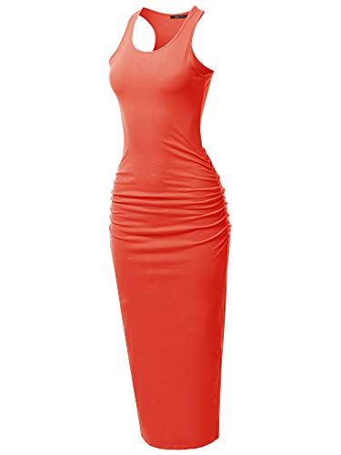 SSOULM Women's Shirring Racerback Tank Maxi Dress with Plus Size Coral 3XL ()