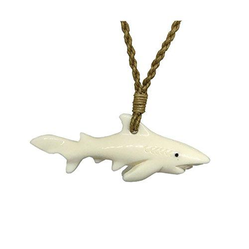 Hawaiian Jewelry Tiger Shark Buffalo Bone Hand Carved Pendant Necklace - Necklace Mens Bone