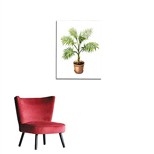 (longbuyer Painting Post Palm in Clay Flowerpot Mural 32