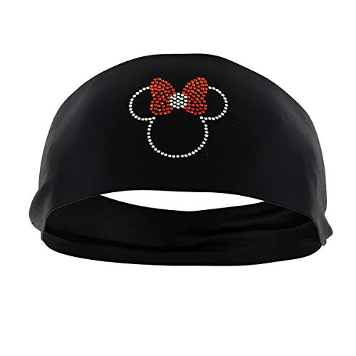 RAVEbandz! Women's Premium Wide Fashion Headbands (SLOGANZ) - Non-Slip, Maxi Dri Moisture-Wicking Fabric | Great for Sports and Fitness (Minnie Mouse)