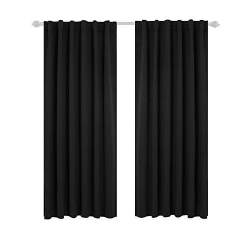 (Deconovo Back Tab and Rod Pocket Curtains Blackout Panels Thermal Insulated Blackout Curtains for Living Room 52x63 Inch Black 1 Pair)