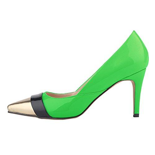 Azbro Mujer Estilete Bomba con Puntera Punta de Color Bloque Verde