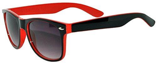 Black - Red Two Tone Vintage Sunglasses Smoke Lens UV Protection (Red Sunglasses Black Mens)