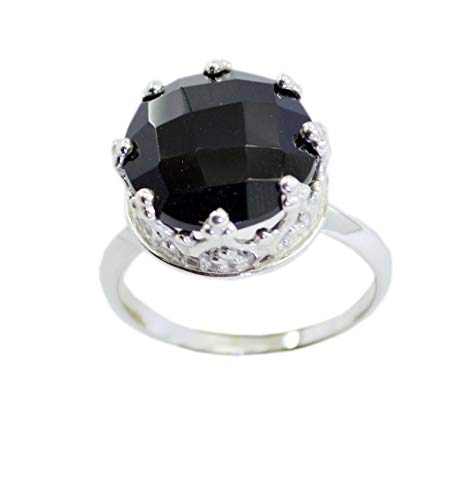 Wholesale 925 Sterling Silver fine Genuine Black Ring, Black Onyx Black Stone Silver Ring