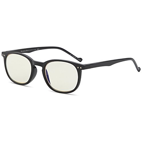 Gamma RAY 010 Slim Vintage Computer Readers Reading Glasses Anti Reflective Anti Glare Anti Eyestrain Lens for Digital Screens, UV400 Protection - 0.00x in Black - Package Free Video Light