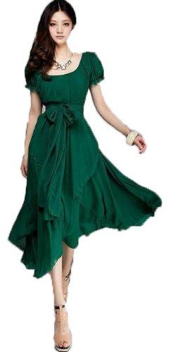 Women's Maxi Chic Chiffon Vintage Long Ball Party Irregular Evening Dress (US4=M, green)