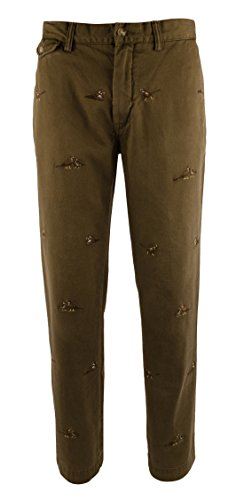 Polo Ralph Lauren Mens Straight Fit Embroidered Chino Pants Green 32/30 (Lauren China Ralph Patterns)