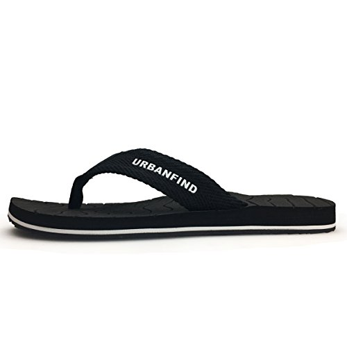 URBANFIND Men's Thongs Flip Flop Sandals Comfortable Athletic Arch Support Beach Shower Slippers Weave Black, 10 D(M) US by URBANFIND (Image #3)