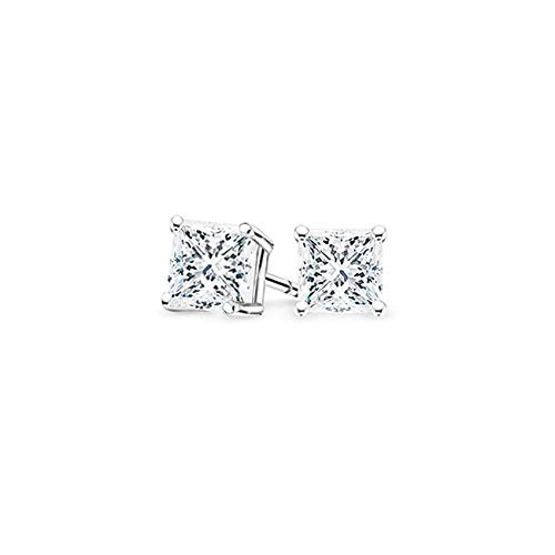 bbamjewelry Certified Princess Cut Four-Prong Real Moissanite Solitaire Stud Earrings In 14K White Gold Plated