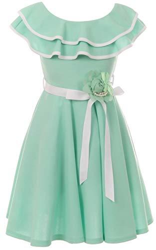 - Big Girls' Classic Layered Ruffle Graduation Holiday Party Flower Girl Dress Mint 14 (J21KS28)