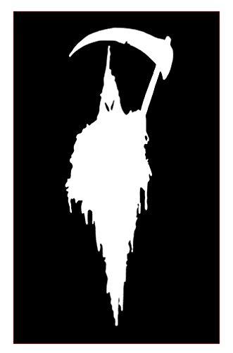 Grim Reaper Death Halloween (Pack of 2) Vinyl Sticker Decals for Car Bumper Window MacBook Laptop [White, 12