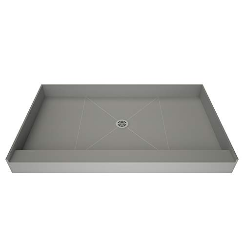 Redi Base Integrated Shower Pan with Center Drain - Single Curb, Polished Chrome, 2-Inch PVC Drain and Plate Included, 48