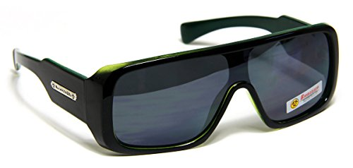 Men Sport Turbo Shield Aviator Biohazard Sunglasses Black Green Frame - Sunglasses Turbo Aviator