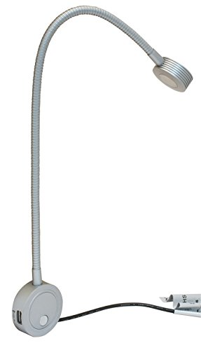 Nickel Adjustable Matt (Loox LED 12V 2034 Reading Light by Hafele, with 2 USB Ports (Matt))