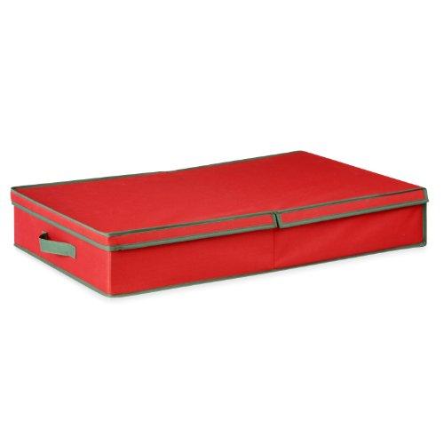 Honey-Can-Do Ornament Storage Box with Dividers, Red/Green