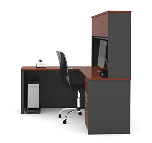 Bestar Prestige L-shaped Workstation - BESTAR Prestige L-Shaped Workstation with One Pedestal, Bordeaux/Graphite