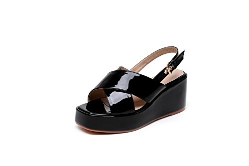 PU AllhqFashion Black Open Womens High Buckle Sandals Toe Solid Heels qvHvEw