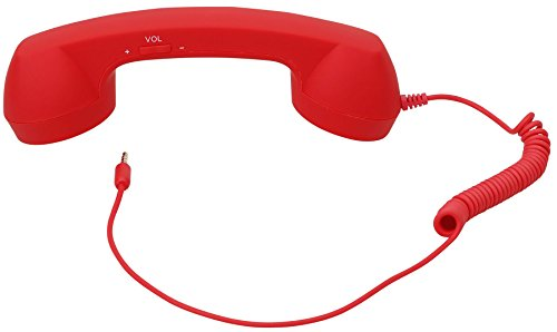 Price comparison product image AshopZ Retro Telephone Handset 3.5mm Cell Phone Receiver for Iphone, Red